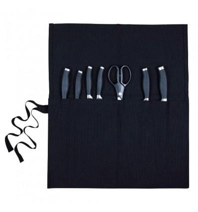 Θήκη μαχαιριών σε ρολό, μαύρη 10 θέσεων